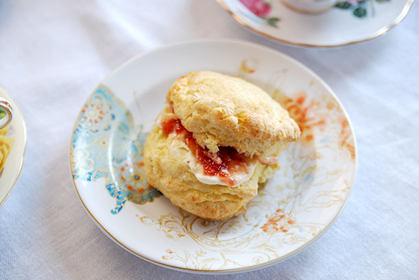 Scone with Cream and Strawberry Jam