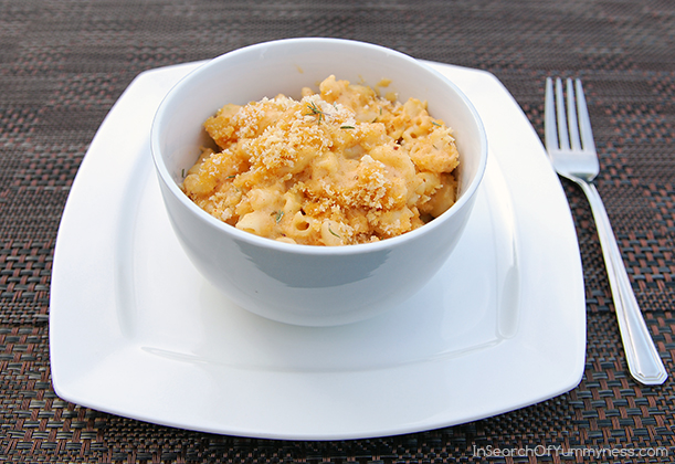 Lobster mac and cheese with Maille Au Vin Blanc Mustard from InSearchOfYummyness.com