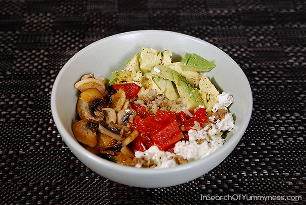 An Interpretation of the Freshii Bliss Bowl with Fresh #Mushrooms from InSearchOfYummyness.com #Rice #Avocado