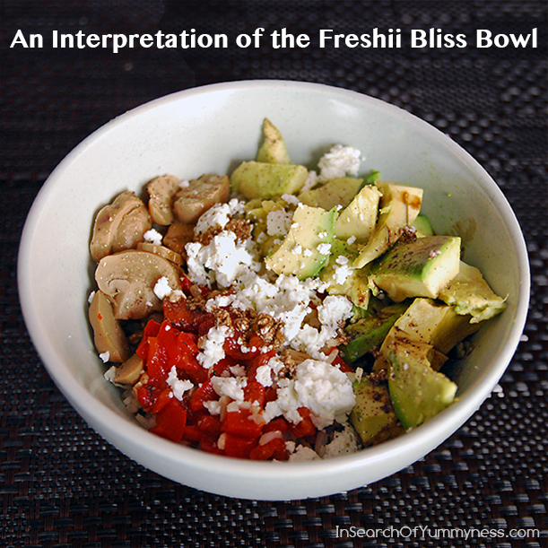 An Interpretation of the Freshii Bliss Bowl from InSearchOfYummyness.com #Rice #Mushrooms #Avocados