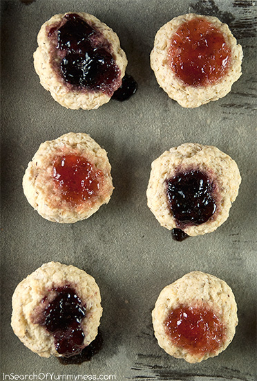 "Coconut ""Breakfast Bun"" Cookies with Jam & Jelly from InSearchOfYummyness.com"