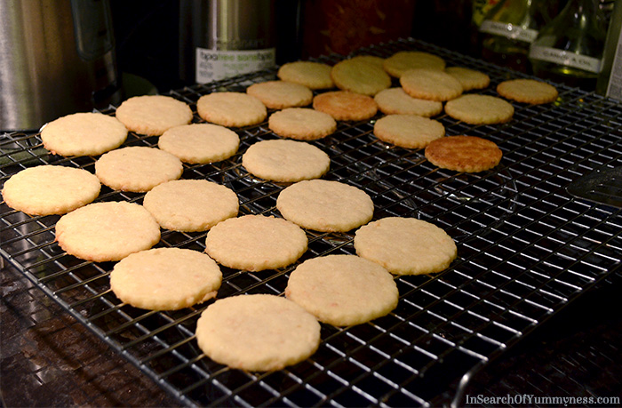 Cooling Shortbread Cookies on a wire rack | InSearchOfYummyness.com
