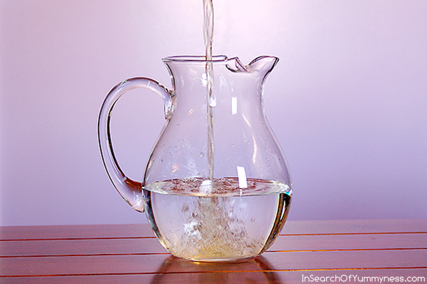 Adding the green tea to my version of Fairy Water | InSearchOfYummyness.com