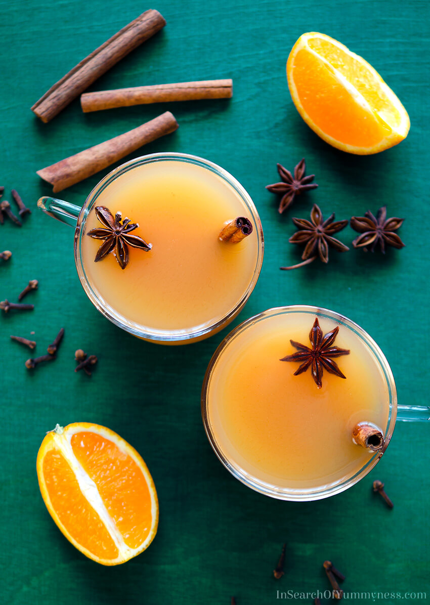 This spiced apple cider is a simple mulled cider recipe, with the addition of star anise. Get the #recipe at InSearchOfYummyness.com.