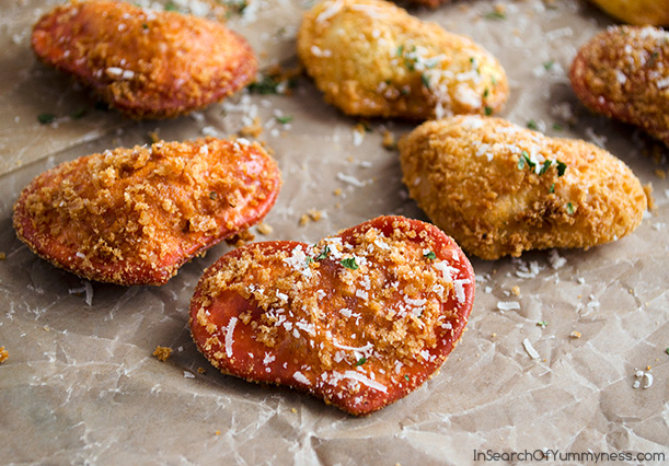 Fried Ravioli Hearts for Valentine's Day | InSearchOfYummyness.com | #Recipes4Romance #Olivieri