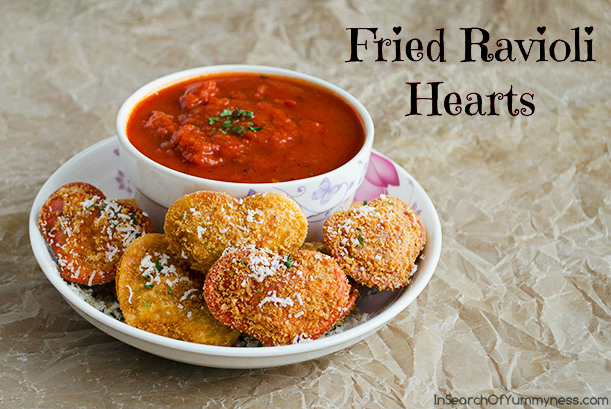 Fried Ravioli Hearts | InSearchOfYummyness.com | #Recipes4Romance #ValentinesDay