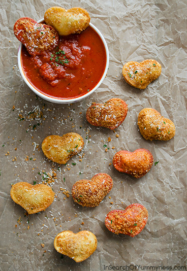 Fried Ravioli Hearts | InSearchOfYummyness.com | #Recipes4Romance #Olivieri
