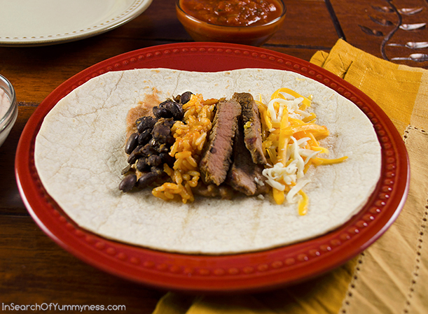 Steak Burritoas with Chili Lime Sauce using Dempster's Tortillas | InSearchOfYummyness.com #sponsored