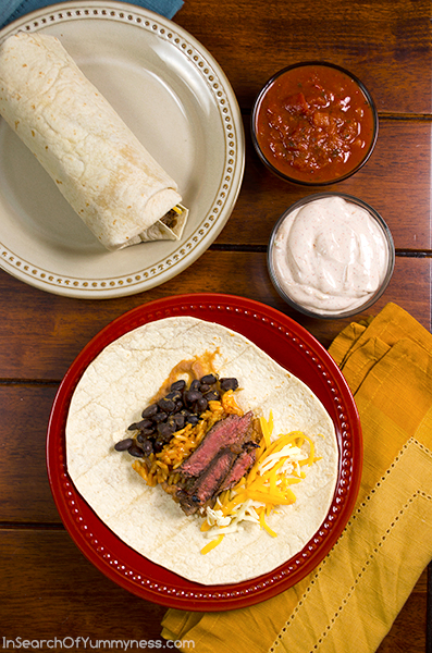 Steak Burritos with Chili Lime Sauce using Dempster's Tortillas | InSearchOfYummyness.com | #Recipe