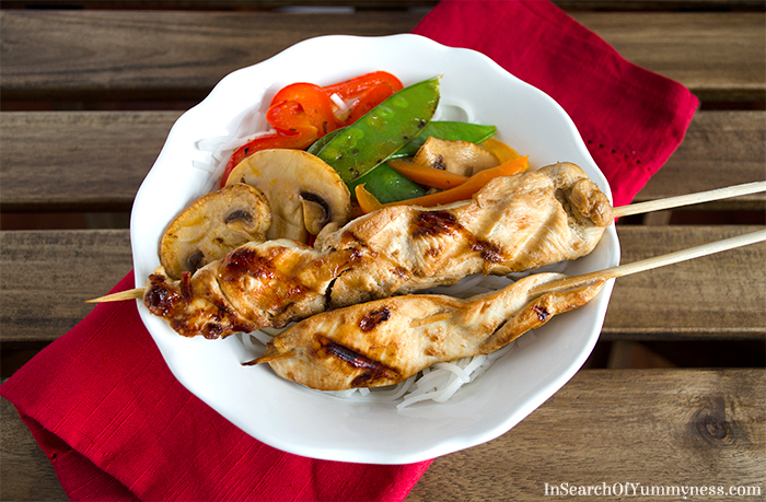 Grilled Chicken Strips for my Chicken Satay Noodle Bowl | InSearchOfYummyness.com | #MapleLeafPrime