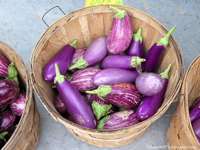 Beautiful fresh eggplants from the Mississauga Lions Farmer's Market | InSearchOfYummyness.com