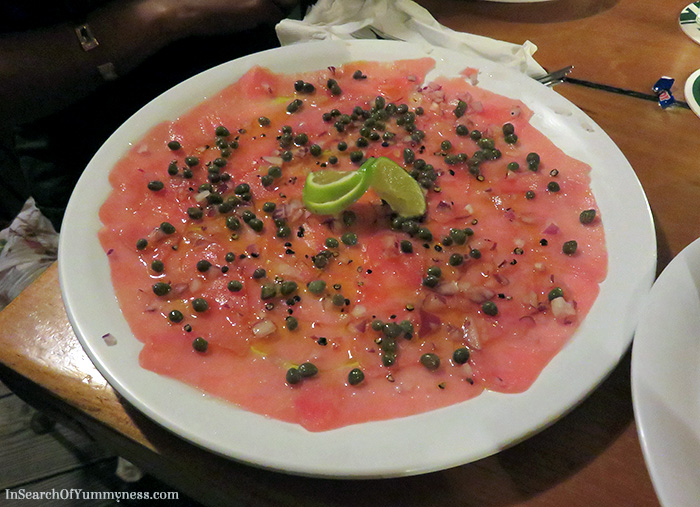 Tuna Carpaccio with fresh lime juice, olive oil, capers, sea salt & pepper from SkipJacks Restaurant in St. Maarten | In Search Of Yummy-ness