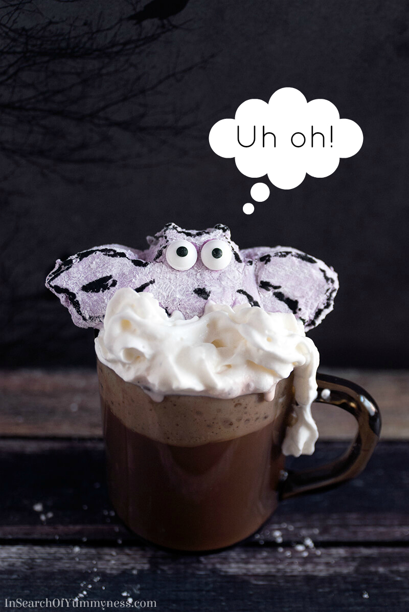 These blueberry marshmallow bats are perfect for melting into your Halloween hot chocolate!