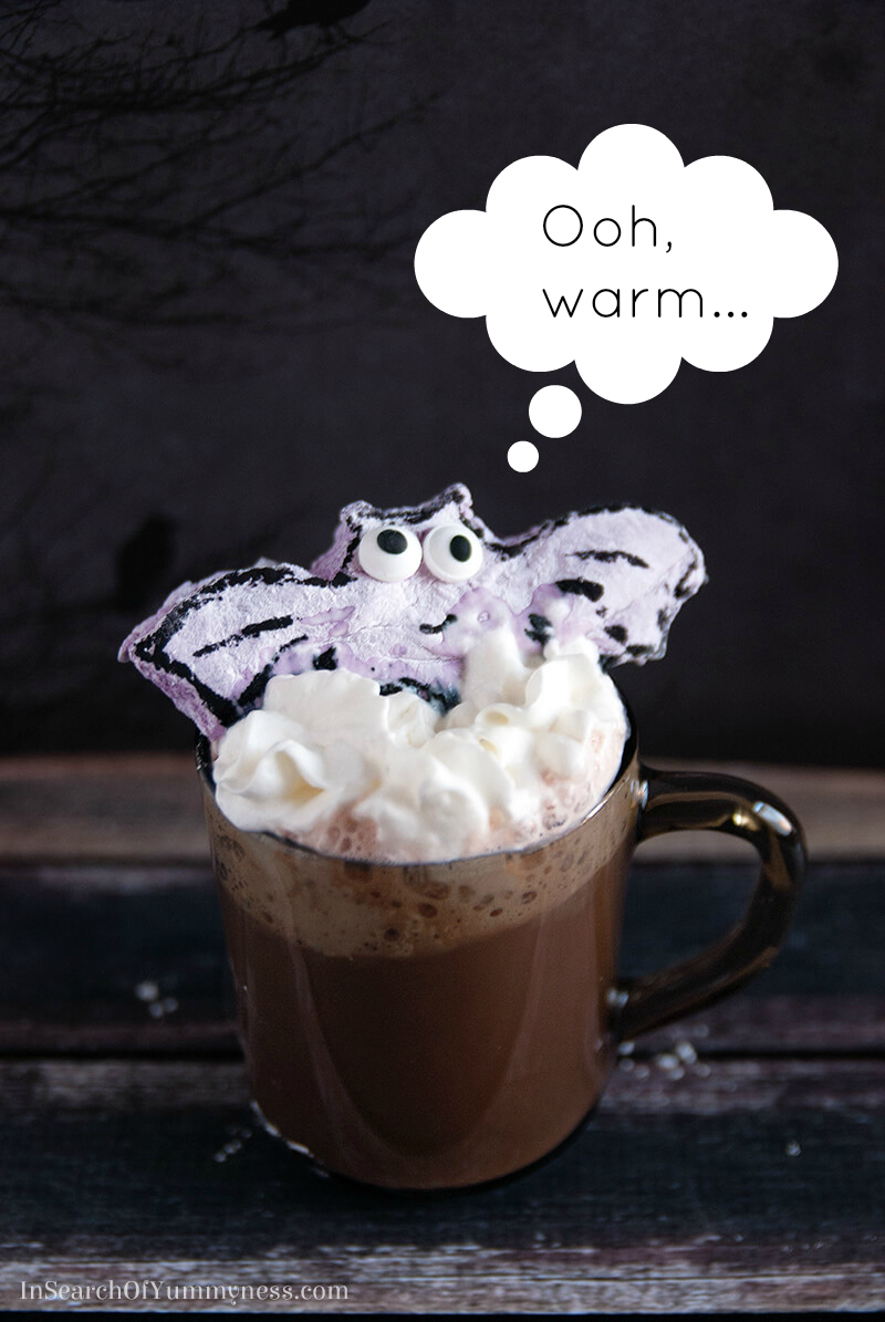 These blueberry marshmallow bats are perfect for your Halloween hot chocolate!