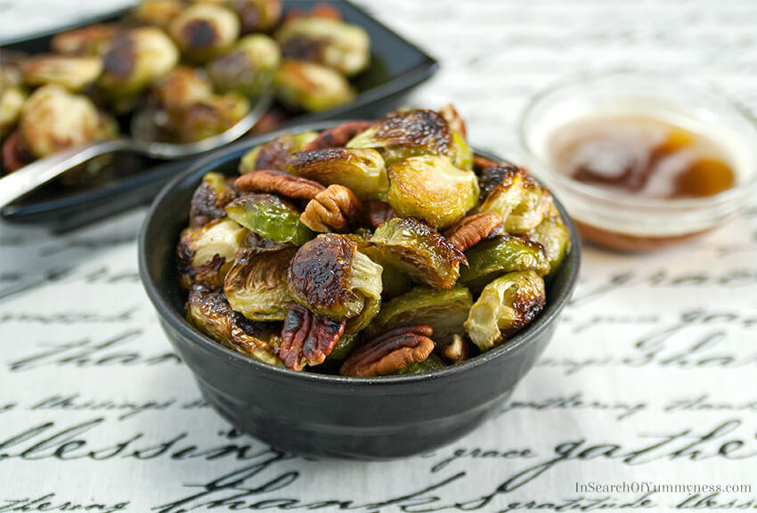 Roasted Brussels sprouts with toasted pecans and brown butter | InSearchOfYummyness.com