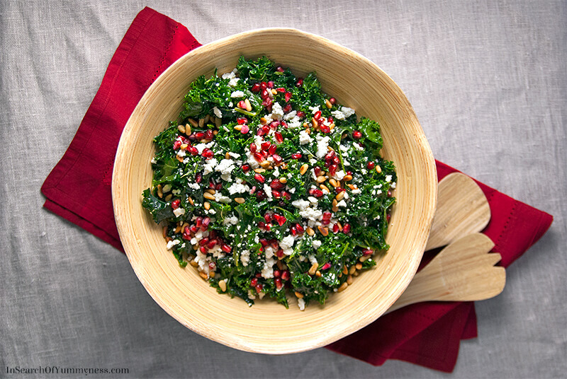 Massaged Kale Salad with Pomegranate and Pine Nuts Recipe | In Search Of Yummy-ness