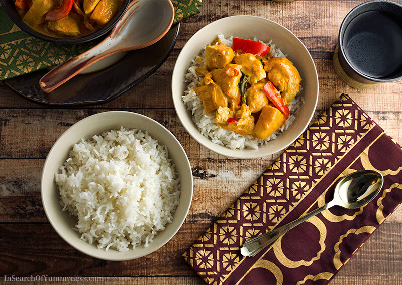 Thai Red Curry with Chicken and Pineapple, served with white rice | InSearchOfYummyness.com