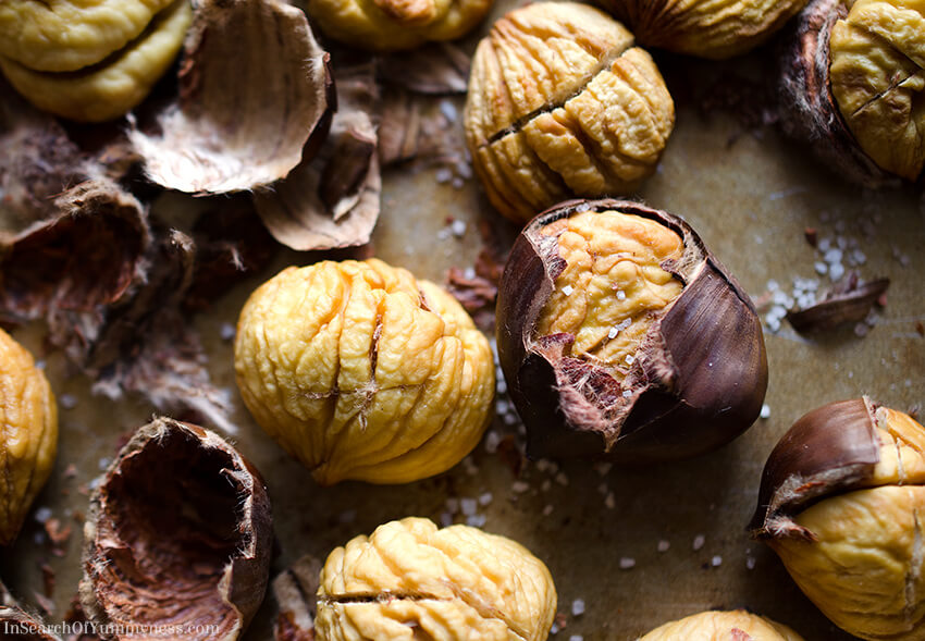 Beautiful roasted chestnuts and their shells | InSearchOfYummyness