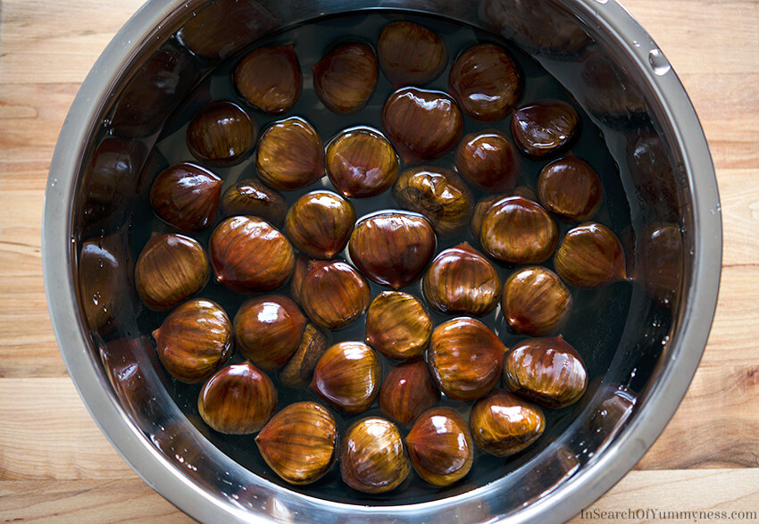 Chestnuts soaking in a bowl of water | InSearchOfYummyness