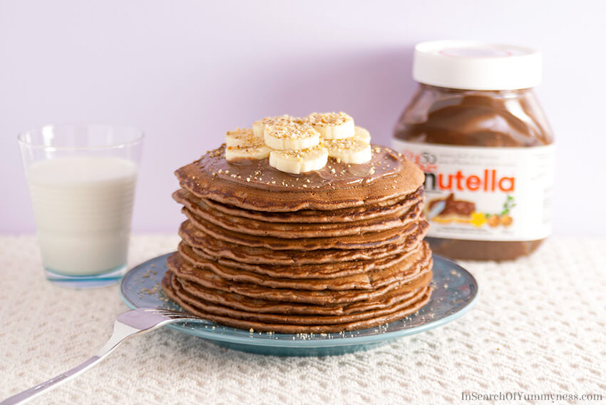Nutella Pancakes with Mascarpone Cream | InSearchOfYummyness.com