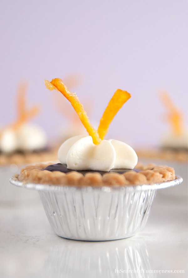 These mini tarts are filled with a chocolate orange ganache that tastes like a truffle!