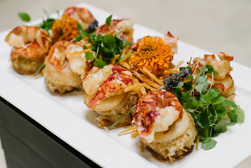 Canadian Lobster with ginger canola oil, crispy scallops stuffed with king crab & tempura sweet potato allumette from The Windsor Arms | InSearchOfYummyness.com