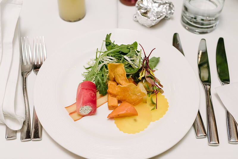 Beet & Goat Cheese Canelloni, roasted root vegetables, rhubarb tuile & arugula salad from The Windsor Arms | InSearchOfYummyness.com