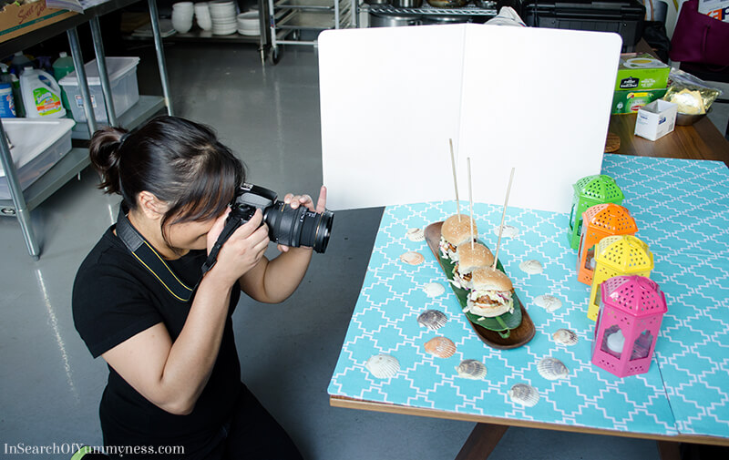 Shareba shooting sliders at the Grace Foods Canada photoshoot | InSearchOfYummyness.com