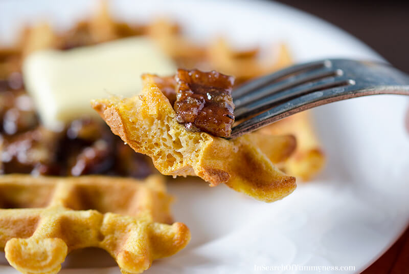 Pumpkin Waffles with Pumpkin Spice and Pecan Syrup | InSearchOfYummyness.com