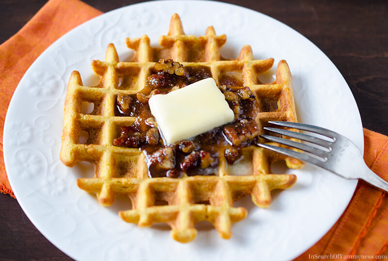 Pumpkin Waffles with Pecan Syrup for Breakfast | InSearchOfYummyness.com