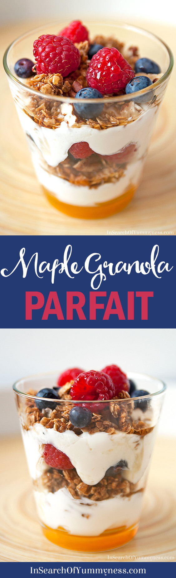 Need a quick breakfast idea? How about a Maple Granola Parfait? It's easy to put together in the morning, and tastes so much better than cold cereal. Get the recipe at InSearchOfYummyness.com.