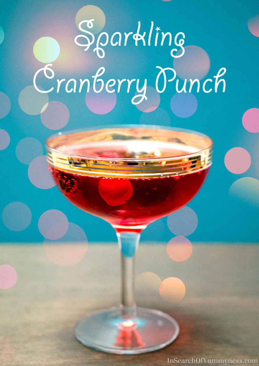 This sparkling cranberry punch is the perfect non-alcoholic party drink! It's tangy, easy to make and only has five ingredients! Get the #recipe at InSearchOfYummyness.com