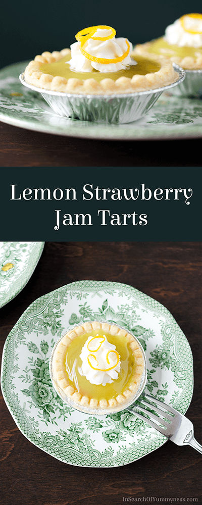 Light and fruity Lemon Strawberry Jam Tarts are a welcome treat at the end of a heavy meal. Get the recipe at InSearchOfYummyness.com