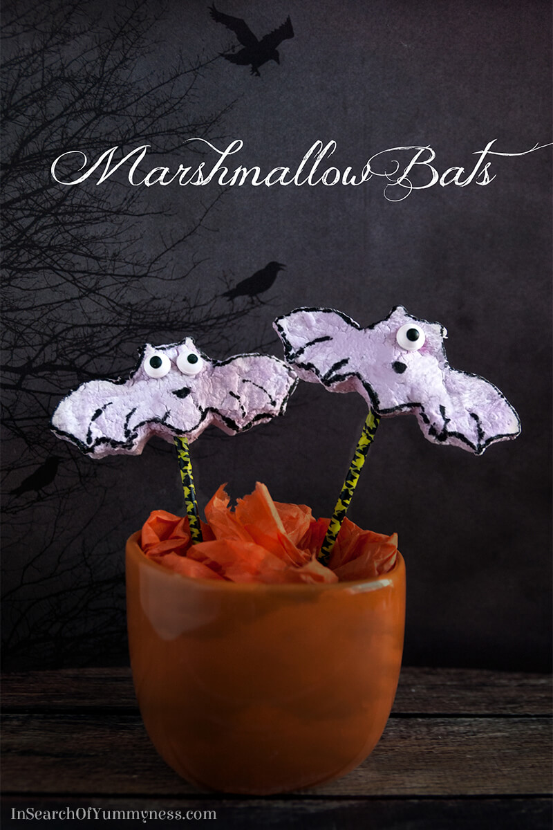 My blueberry marshmallow bats aren't the prettiest, but they taste pretty good! Check out this project at InSearchOfYummyness.com.