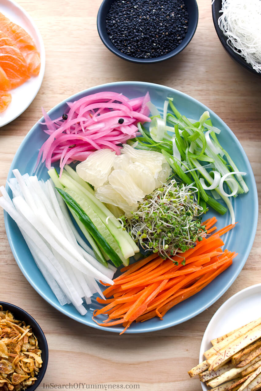 Fresh ingredients for Singaporean Style Slaw, inspired by Chef Susur Lee's signature dish and traditional Lo Hei.