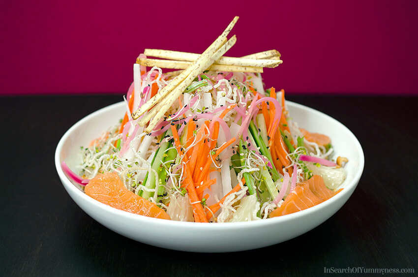 Singaporean Style Slaw inspired by traditional Lo Hei | InSearchOfYummyness.com