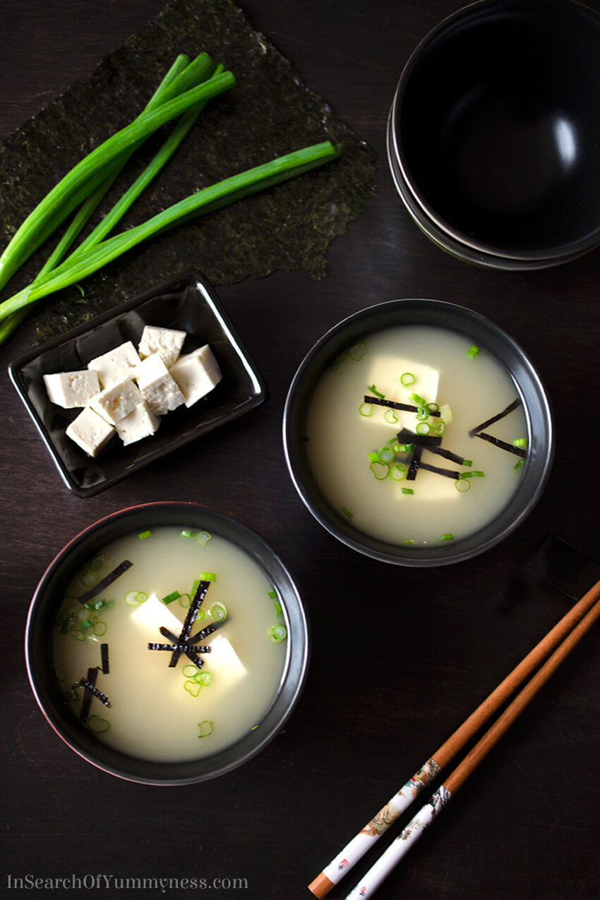 This miso soup recipe from In Search Of Yummy-ness omits traditional dashi stock, in favour of easier to find ingredients!