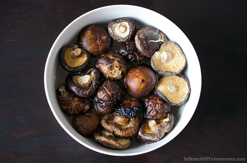 Soaking dried mushrooms for vegan dashi for miso soup | InSearchOfYummyness.com