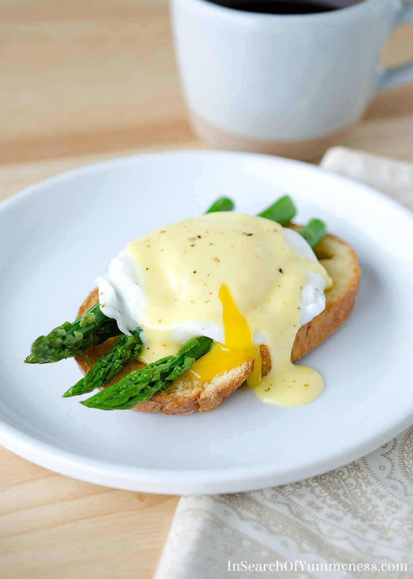 Fresh asparagus puts a springtime twist on the classic Eggs Benedict dish. Get the recipe at InSearchOfYummyness.com