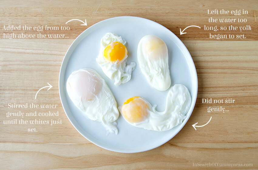 How to poach eggs for eggs Benedict | InSearchOfYummyness.com