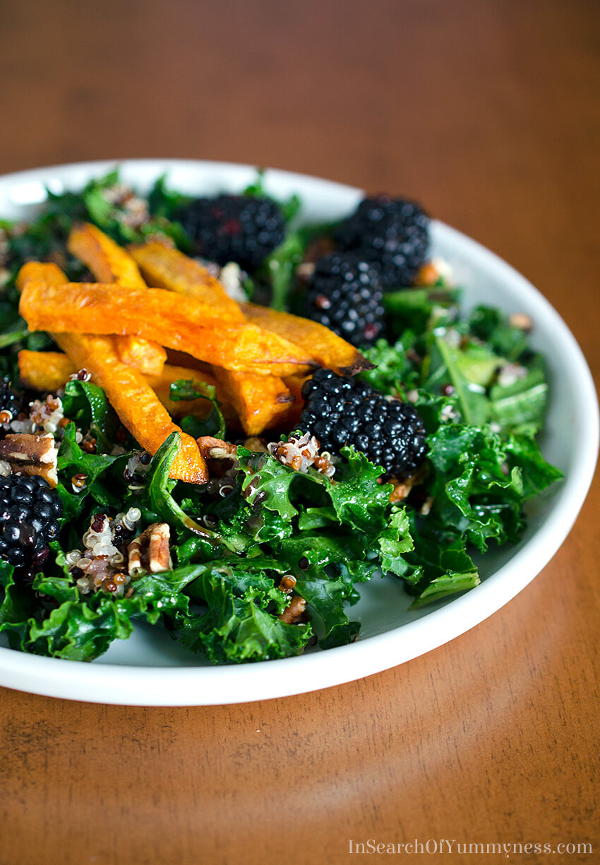 Need a nutritional boost? Make and enjoy this Red Quinoa and Kale Salad with Blackberries! Get the recipe at InSearchOfYummyness.com