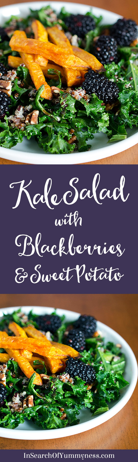 This red quinoa and kale salad with blackberries is so good for you, and it tastes great too! The secret is in the tangy lime and maple dressing. Get the recipe at InSearchOfYummyness.com