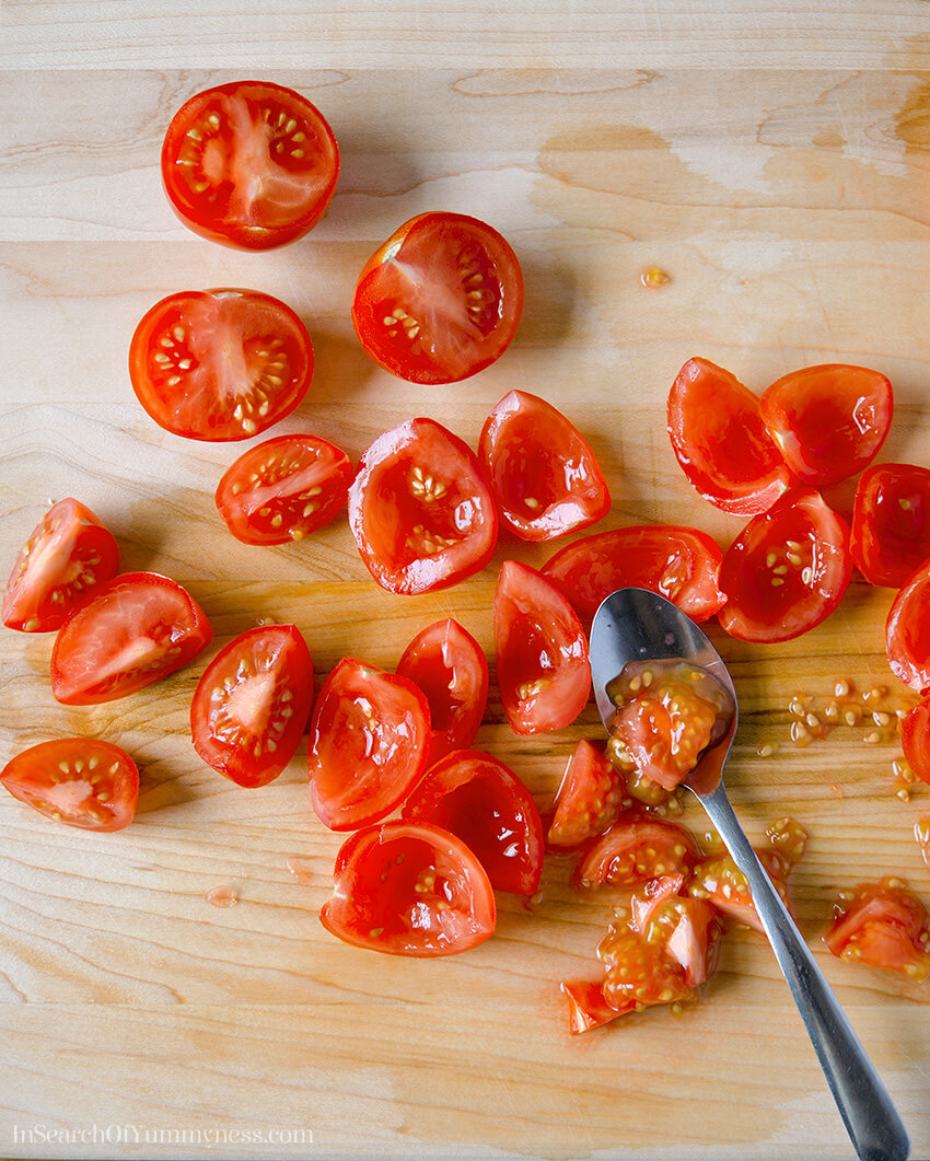 Taking the seeds out of Campari tomatoes | InSearchOfYummyness.com