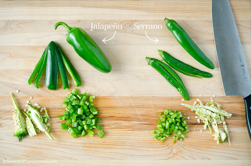 You can substitute jalapeno peppers for serrano peppers in pico de gallo | InSearchOfYummyness.com
