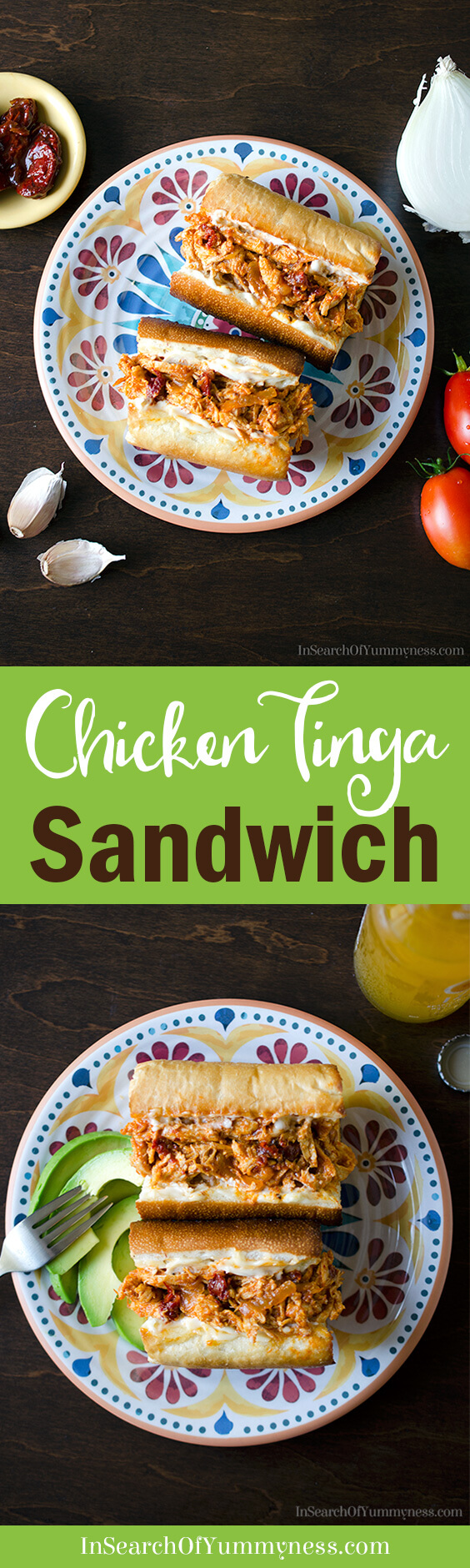 Love the smokey flavour of chipotle peppers? Then you're going to love this chicken tinga sandwich! Get the #recipe at InSearchOfYummyness.com