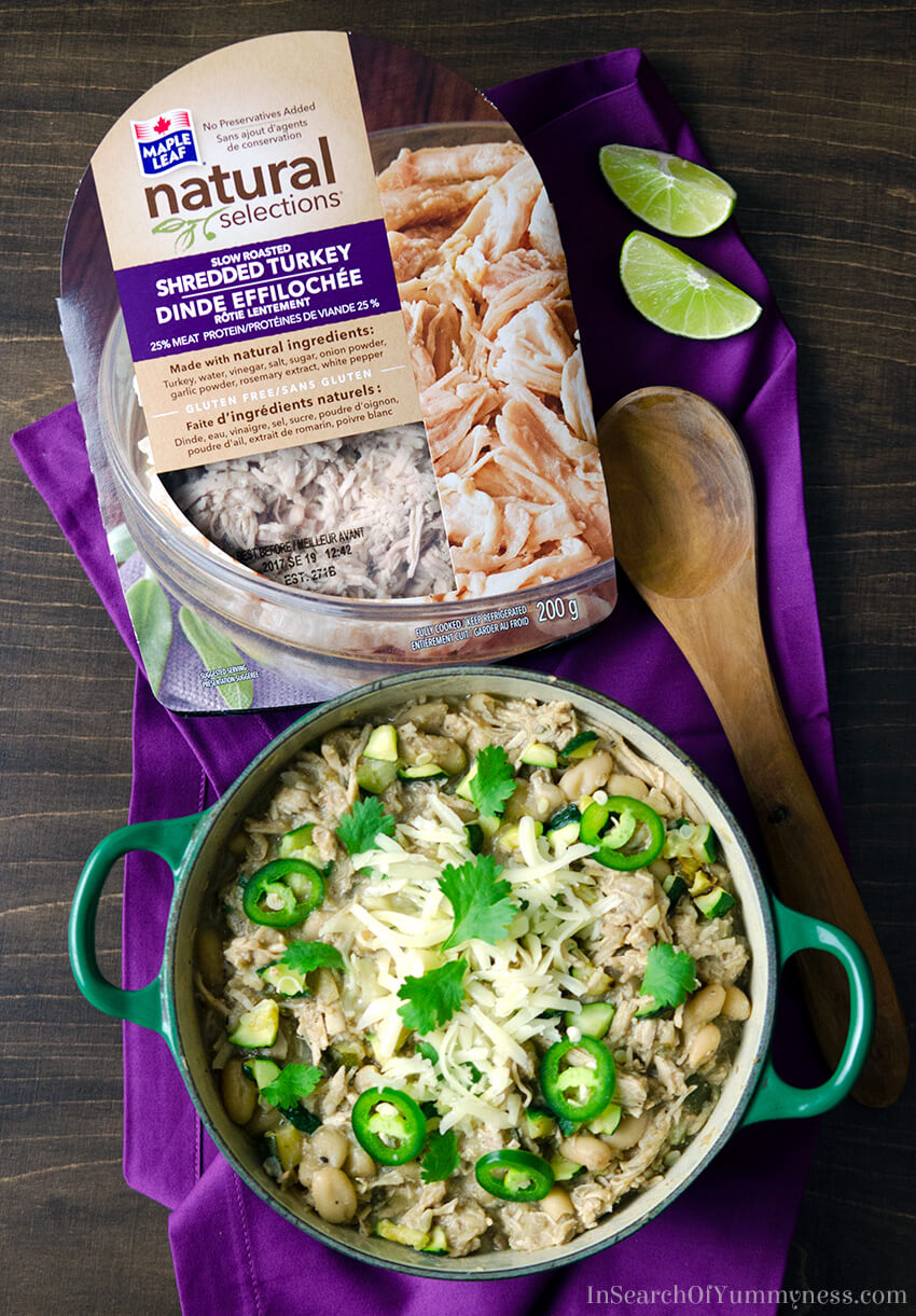 Maple Leaf Natural Selections Slow Roasted Shredded Turkey in White Turkey Chili | InSearchOfYummyness.com | Sponsored