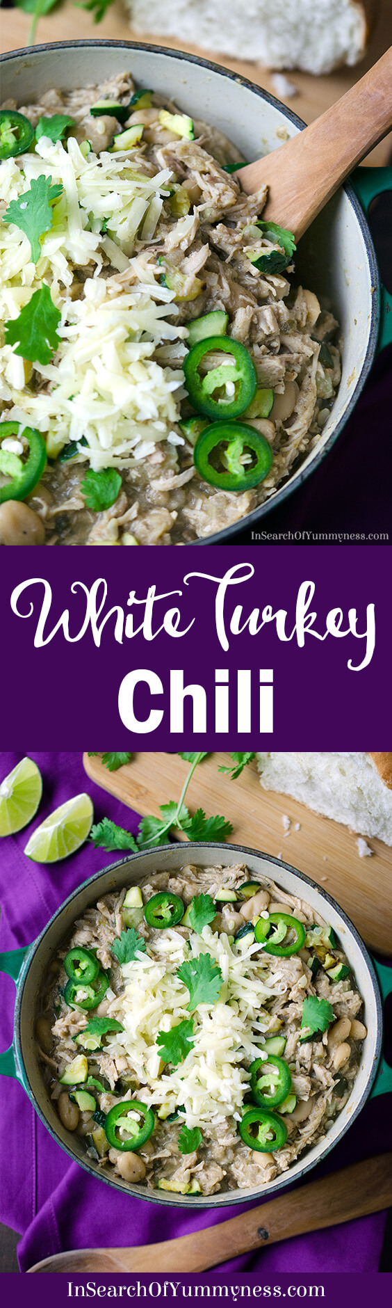 Do you have a picky eater at your house? Make them this mild but flavourful white turkey chili! Get the #recipe at InSearchOfYummyness.com #Sponsored