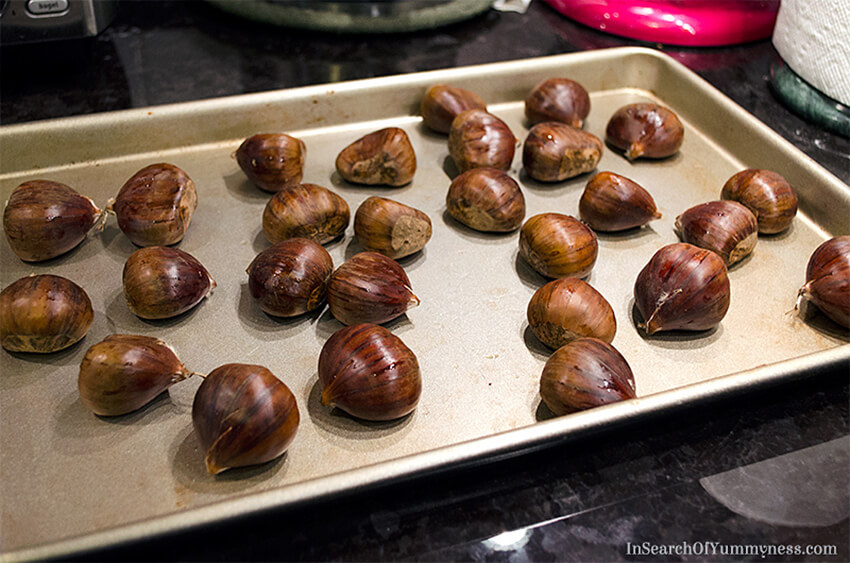 Chestnuts on a baking tray | InSearchOfYummyness