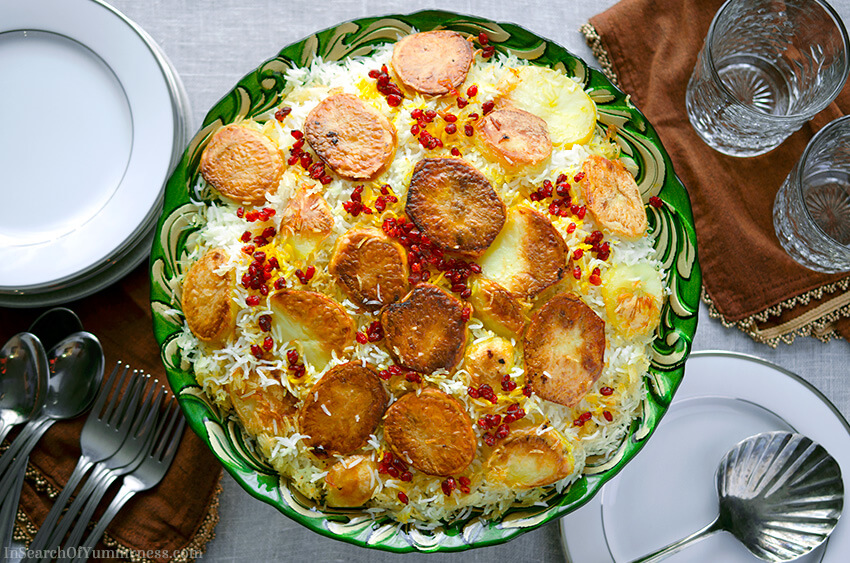 Persian Rice with Potato Tahdig | InSearchOfYummyness.com | Image protected by copyright!
