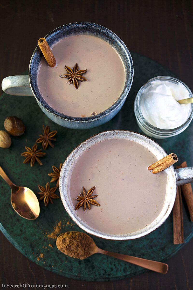 Spiced Hot Cocoa with Star Anise, Cinnamon and Nutmeg | InSearchOfYummyness.com